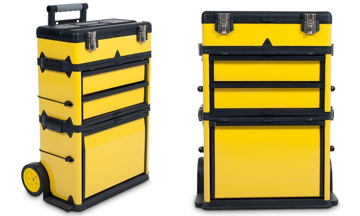 Stalwart Rolling Portable Metal Tool Box Chest