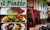 Il Piatto (Now Slide Inn) - Buckman: $22 for $45 Worth of Italian Fare and Drinks at Il Piatto