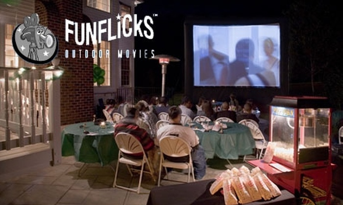 Fun Flicks Outdoor Movies - Chandler: $210 for a Backyard Movie Party with Popcorn Cart ($440.64 value) or $440 for a Premier Movie Package with Popcorn Cart ($829.64 Value)