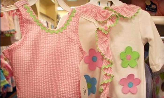 Storkland and The Name Dropper - Montgomery: $15 for $30 Worth of Children's Clothing, Furniture, and Accessories at Storkland and The Name Dropper