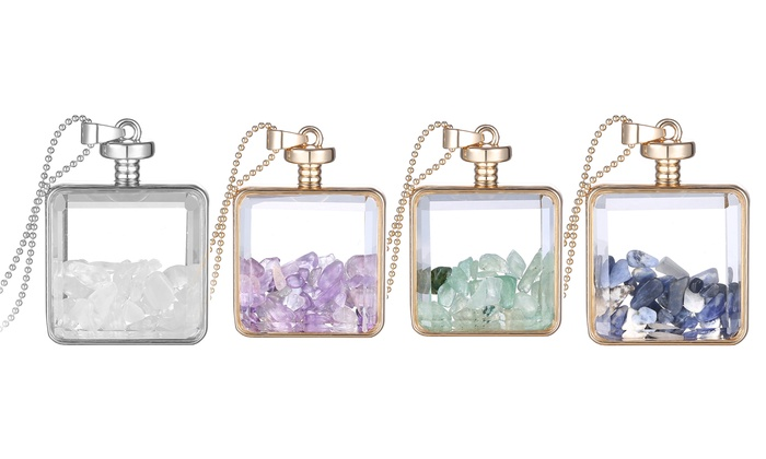 Genuine gemstone glass pendants groupon goods glass pendants with genuine gemstones in 14k gold mozeypictures Gallery