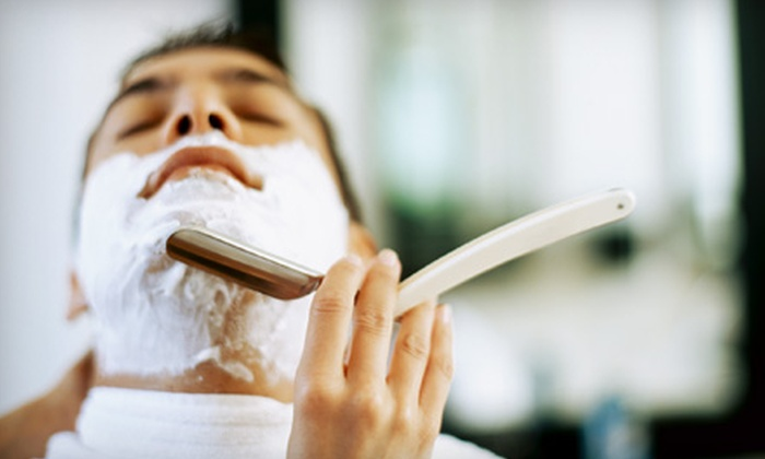 Moto Cuts GP - Wayne: Three Hot-Lather Shaves or Haircut Package with Shampoo, Style, and Hot-Lather Shave at Moto Cuts GP