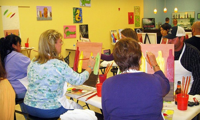Creative Canvas & Wine - Rosemont: Painting Class and Glass of Wine for One, Two, or Three at Creative Canvas & Wine in Altamonte Springs (Up to 51% Off)