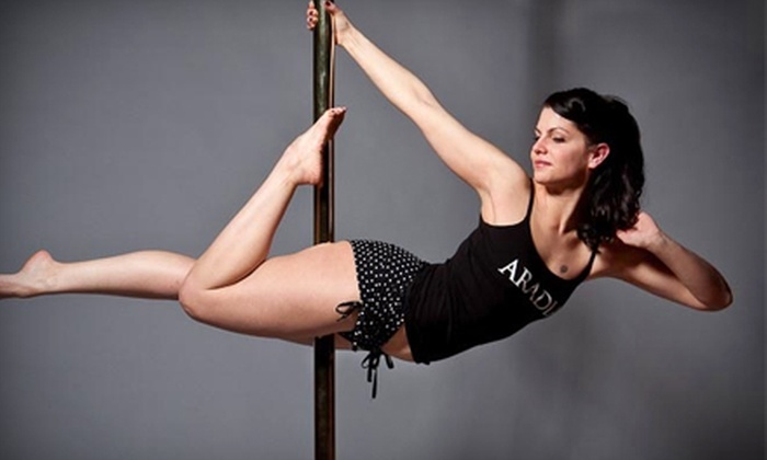 Aradia Fitness - Multiple Locations: Intro-to-Pole Dancing Class and Five Drop-in Fitness Classes or Pole-Dancing Party for Up to 12 Women at Aradia Fitness (Up to 69% Off)