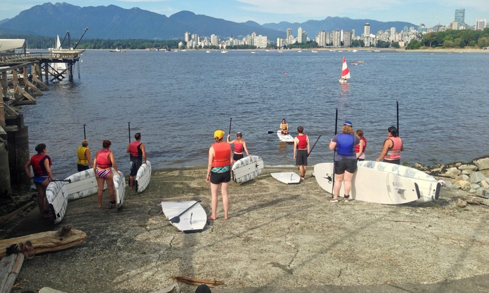 MacSailing - Kitsilano Beach: 90-Minute Intro Stand-up Paddleboarding Course or Starter Pack for 1 or 2 at MacSailing (Up to 50% Off)