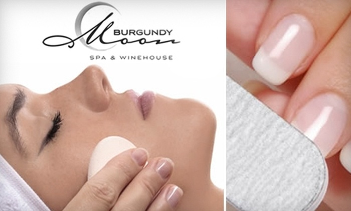 Burgundy Moon Spa & Winehouse - Cornelius: $50 for an Anti-Aging Peel Facial ($120 Value) or $35 for a Mani-Pedi ($70 Value) at Burgundy Moon Spa & Winehouse