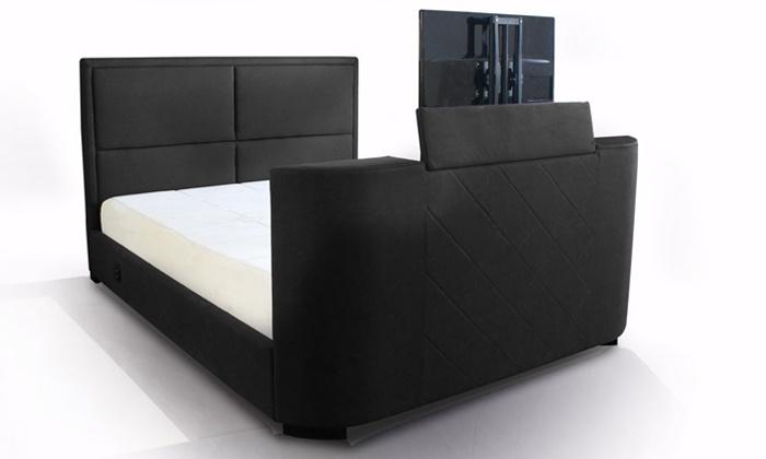 lit avec support tv int gr groupon. Black Bedroom Furniture Sets. Home Design Ideas