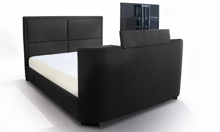 lit avec support tv int gr groupon. Black Bedroom Furniture Sets. Home Design Ideas