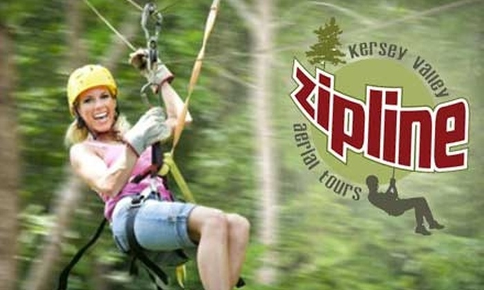 Kersey Valley Zipline Aerial Tours - Jamestown: $42 for Coach Class Tour at Kersey Valley Zipline in High Point ($89 Value)