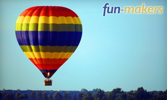 Fun-Makers - Multiple Locations: $145 for a One-Hour Hot Air Balloon Ride From Fun-Makers ($225 Value)