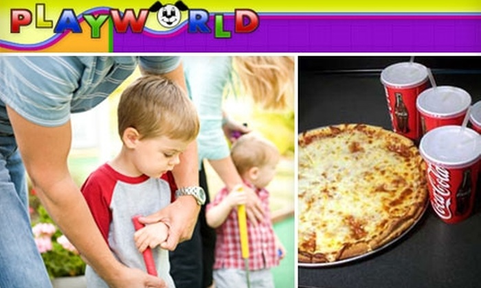 Playworld Pizza & Fun - Little Rock: $15 for Four Mini-Golf Games, One Large One-Topping Pizza, and Four Sodas at Playworld Pizza & Fun in Conway (Up to $34.94 Value)