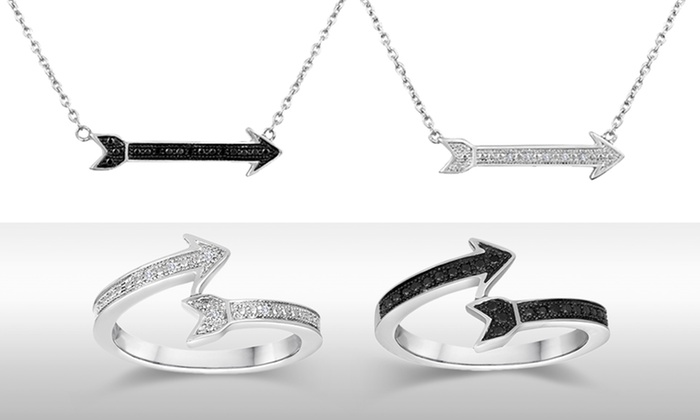 Black or White Diamond Accent Arrow Necklace or Ring: Black or White Diamond Accent Arrow Necklace or Ring. Free Returns.