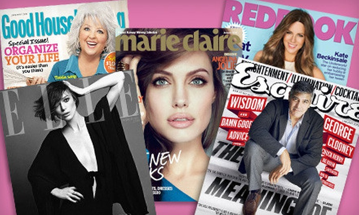 """""""Cosmopolitan"""", """"Elle"""", """"Marie Claire"""" & More: $5 for Choice of One-Year Magazine Subscription (Up to $15 Value). 17 Titles Available."""