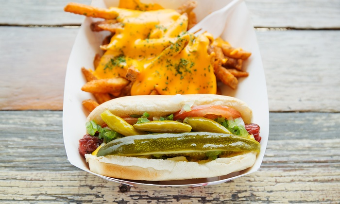 Mile High Vienna Stand - Five Points: $16 for Game Pack with Six Hot Dogs, Fries, and Bottled Water from Mile High Vienna Stand ($27 Value)