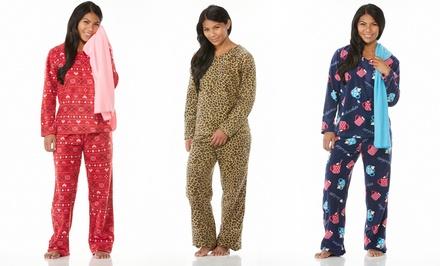 Emme Jordan Women's Printed Fleece Pajama Set with Matching Blanket