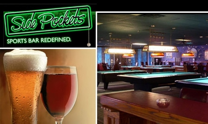 Side Pockets - Papillion: $10 for $20 Worth of American Pub Fare and Drinks Plus Free Pool at Side Pockets