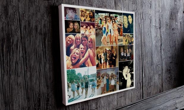 individuelle fotocollage auf leinwand mit alu rahmen von. Black Bedroom Furniture Sets. Home Design Ideas