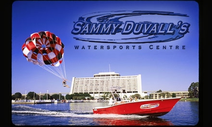 Sammy Duvall's Watersports Centre - Walt Disney World Resort: $125 for Deluxe Tandem Parasailing Flight and Photograph Package at Sammy Duvall's Watersports Centre in Lake Buena Vista ($232 Value)