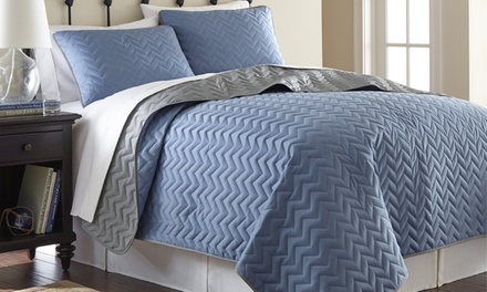 3-Piece Solid Reversible Coverlet Sets