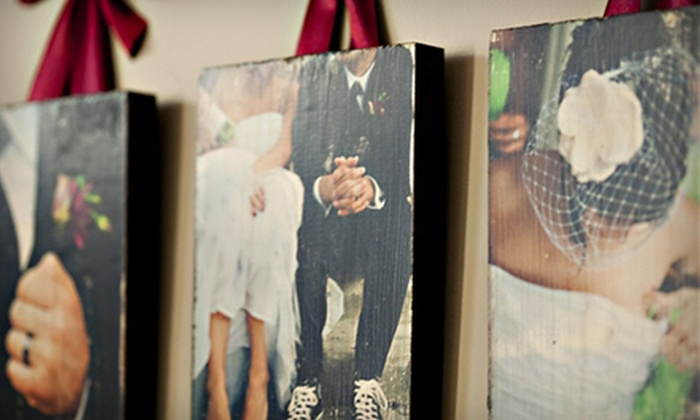 "Customized Wooden Photo Boards or Photo Blocks: $39 for Three 5""x7"" Photo Boards, Five 2""x2"" Photo Blocks, or One 8""x10"" Photo Board from PhotoBarn ($95 Value)"