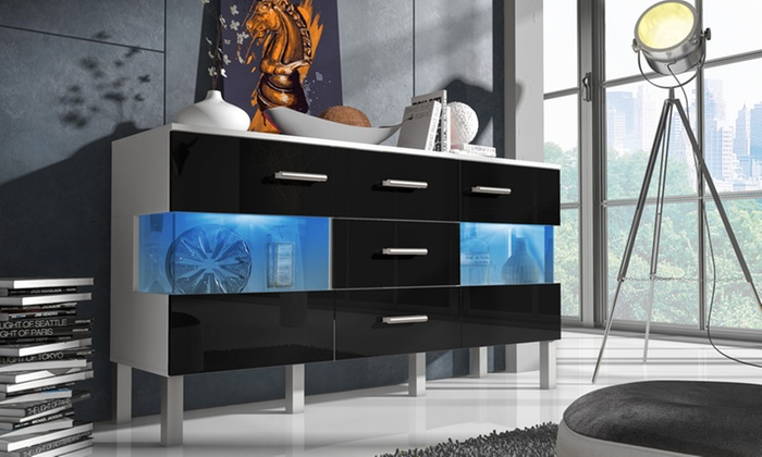 buffet de salon led groupon shopping. Black Bedroom Furniture Sets. Home Design Ideas