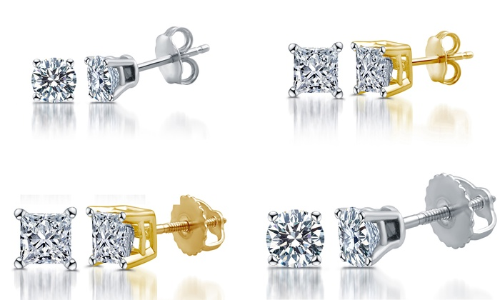81a454b79 Up To 79% Off on 14K Gold Diamond Stud Earrings | Groupon Goods