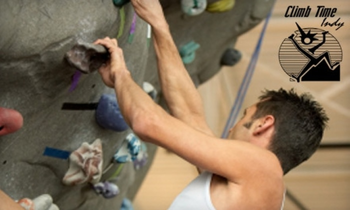 Climb Time Indy - Hearth Stone: $20 for Three Indoor Rock Climbs, with Harness, Shoes, and Chalk, at Climb Time Indy ($60 Value)