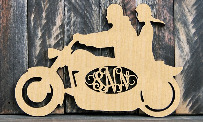 "aMonogram Art: 24""x18"" Custom Natural or Painted Wood Monogram Motorcycle Sign from aMonogram Art (Half Off)"