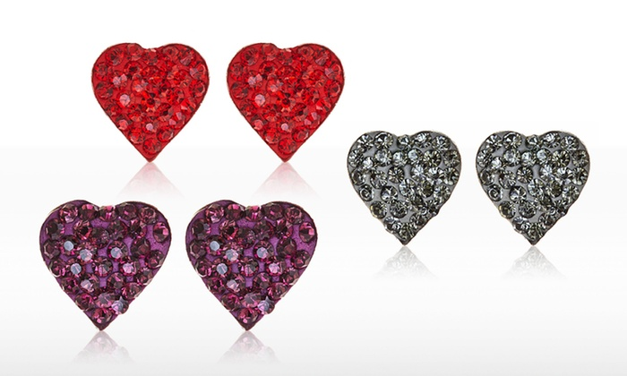 Heart-Shaped Stud Earrings with Swarovski Elements: Heart-Shaped Stud Earrings with Swarovski Elements. Multiple Colors Available. Free Returns.