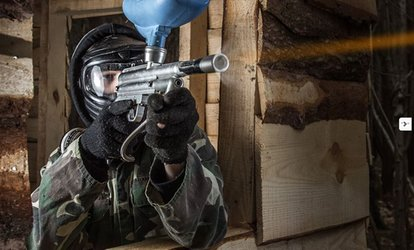 image for Full-Day Paintball Session with 100 Paintballs and Hot Lunch for Five or 10 with Driver Wood Paintball (90% Off)
