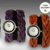 Women's Genuine-Leather Wraparound Watches