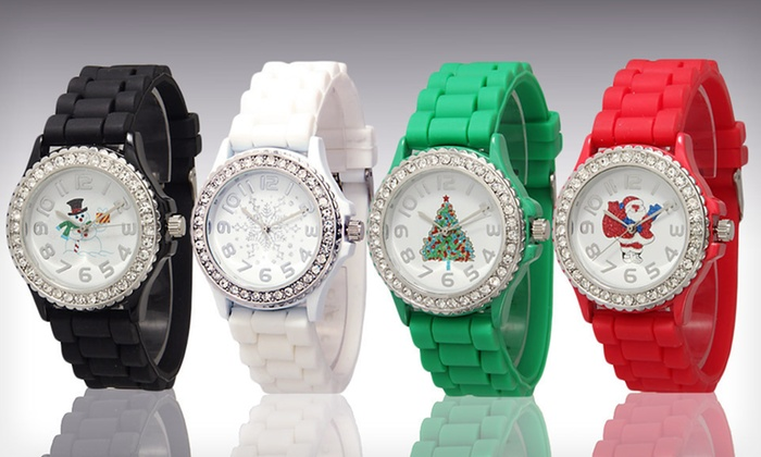 Women's Geneva Holiday Silicone Watch: $8 for a Women's Silicone Holiday Watch with Rhinestones ($19.99 List Price). Four Options Available. Free Returns.
