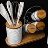 Porcelain and Bamboo Utensil Set with Spice Rack (15-Piece)