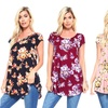 Isaac Liev Women's Floral Tunic Top. Plus Sizes Available.