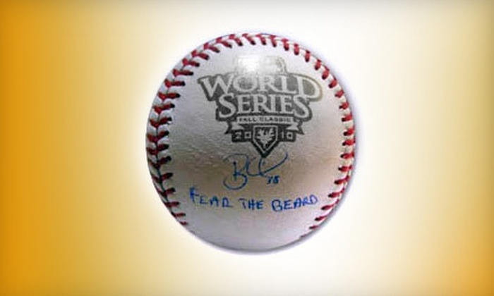 "Powers Collectibles: $149 for a 2010 World Series ""Fear the Beard"" Brian Wilson Autographed Baseball with Shipping ($298.95 Value)"