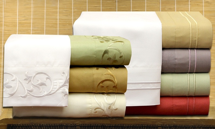 Embroidered Microfibre Sheet Set: $29 for an Embroidered Microfibre Sheet Set (Up to $89.99 List Price). 32 Options Available. Free Shipping and Returns.
