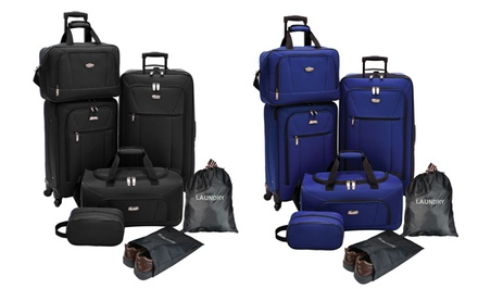 Elite Spinner Luggage Set with Shoe and Laundry Bags (5-Piece)