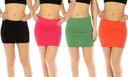 4-Pack Women's Solid Print Mini Skirts