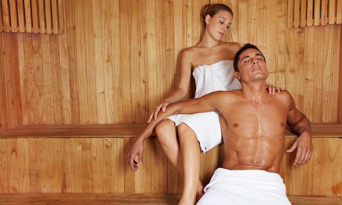 Percorso spa privato con aperitivo, massaggio e bottiglia di spumante (sconto fino a 78%)