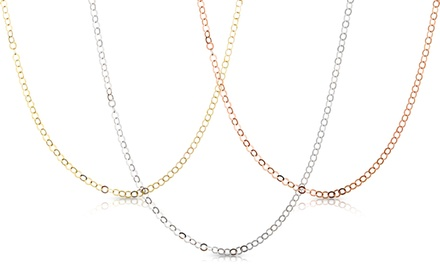 Gold-Plated Sterling Silver Round-Link Necklace Chains