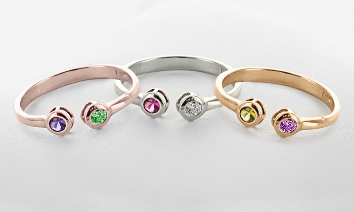 Monogram Online: Personalized Ring with Birthstones in Sterling Silver or Gold Over Sterling Silver from Monogram Online (Up to 57% Off)