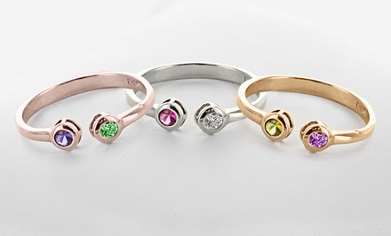 Personalized Ring with Birthstones in Sterling Silver or Gold Over Sterling Silver from Monogram Online (Up to 57% Off)