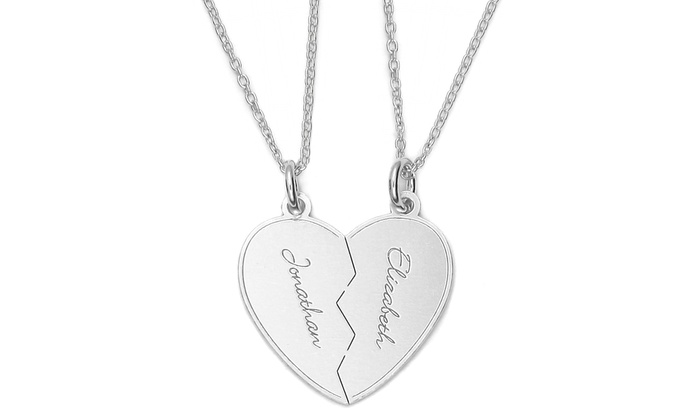 Personalized split heart pendants 2 piece groupon personalized split heart pendants 2 piece personalized split heart pendants in rhodium aloadofball Choice Image