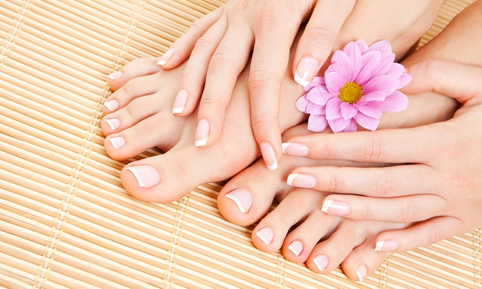 Jaz Couture Salon & spa - Multiple Locations: $25 for a No-Chip Manicure and Spa Pedicure at Jaz Couture Salon & spa ($55 Value)