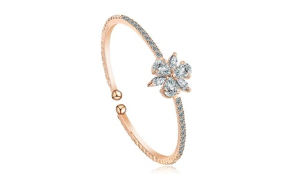 One, Two, or Three Princess Sphere Cut Diamond Rose Gold Bangles from Novadab (77% Off)