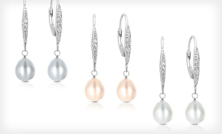 Pearl and Diamond Dangle Earrings in White, Rose, or Gray