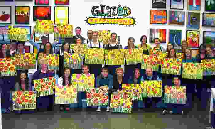 Glazed Expressions - Glazed Expressions: Adult BYOB Canvas-Painting Session for One or Two at Glazed Expressions (Up to 50% Off)