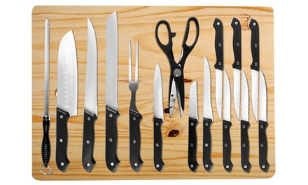 Kitchen knife set with cutting board 16 piece groupon for Kitchen knife set of 7pcs with cutting board