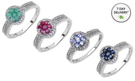 White Topaz and Sterling Silver Ring with Genuine Emerald, Ruby, Tanzanite, or Sapphire. Free Returns.