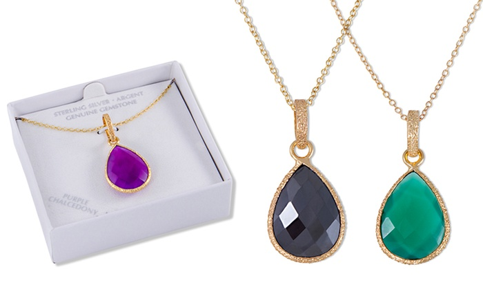 18kt Gold Over Sterling Silver Genuine Faceted Gemstone Pendants: Genuine Faceted Gemstone Pendant Necklaces. Multiple Gemstones Available. Free Shipping and Returns.